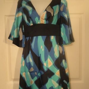 Trina Turk sz 2 Black Blue Abstract Dress